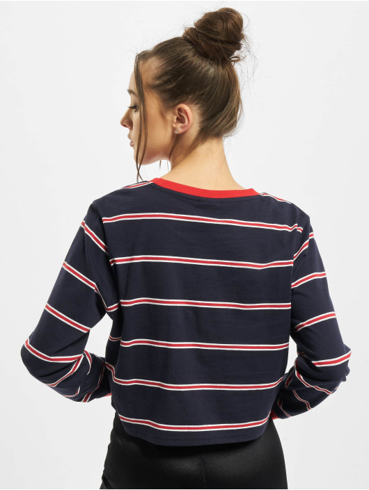 Urban Classics Longsleeve Ladies Short Yarn Dyed Skate Stripe LS blue