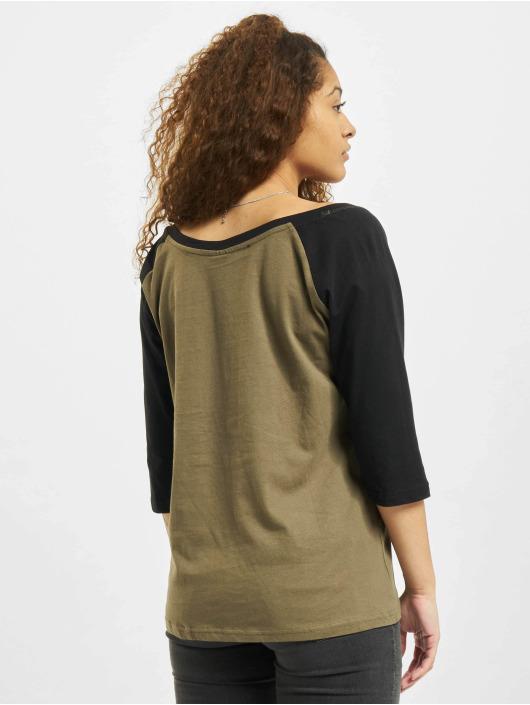Urban Classics Longsleeve Ladies 3/4 Contrast Raglan olijfgroen