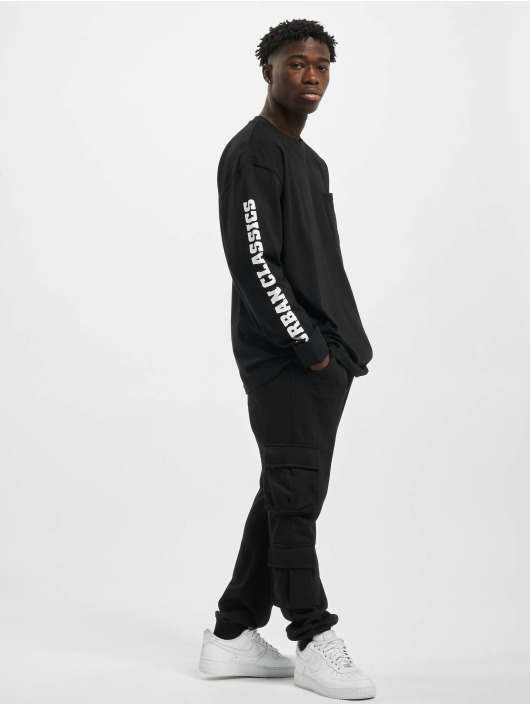 Urban Classics Longsleeve Sleeve Logo Boxy Pocket schwarz