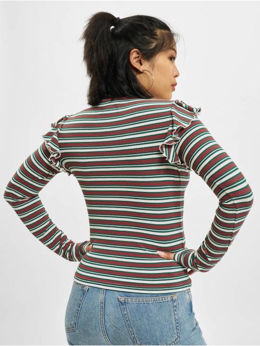 Urban Classics Longsleeve Rib Striped Volant weiß