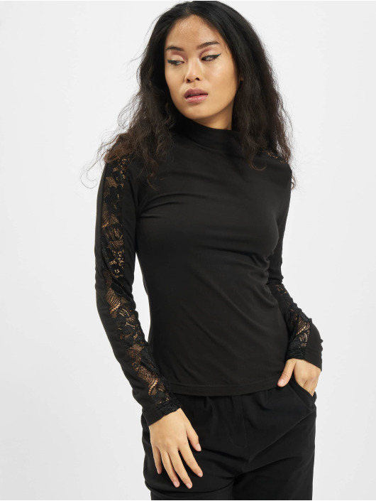 Urban Classics Longsleeve Ladies Lace Striped LS zwart