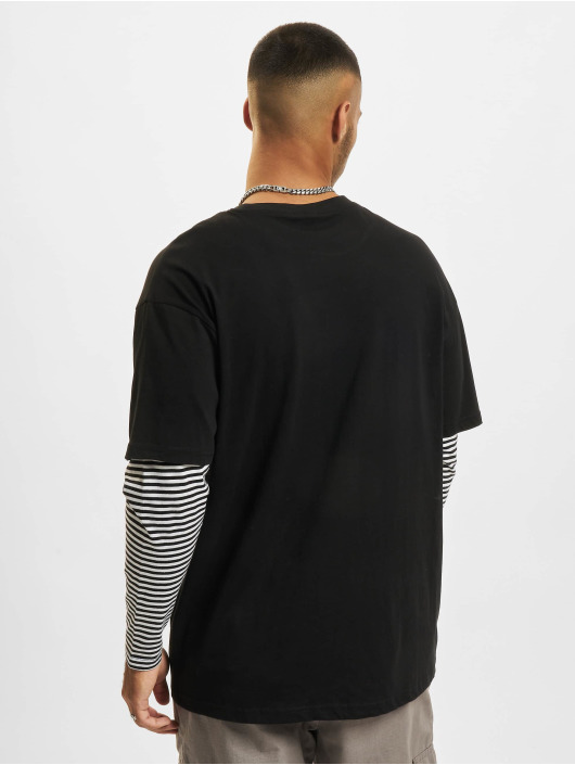 Urban Classics Longsleeves Oversized Double Layer Striped Tall czarny