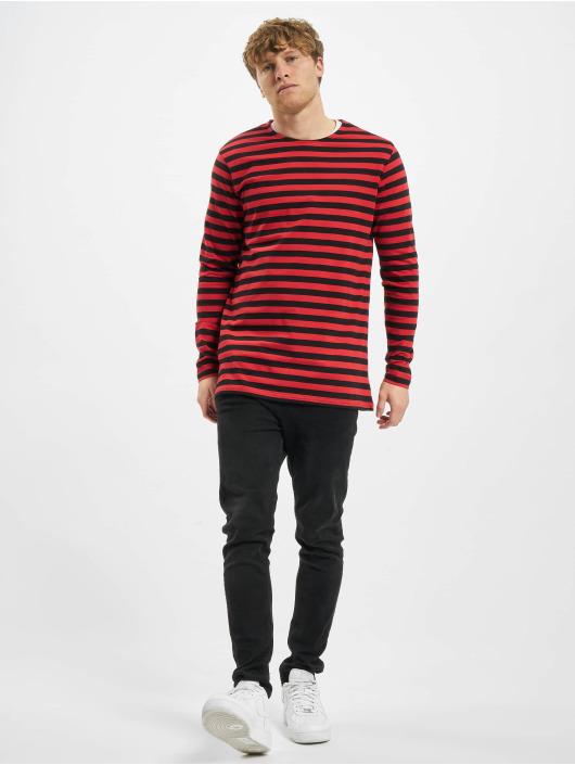 Urban Classics Longsleeves Regular Stripe LS czerwony