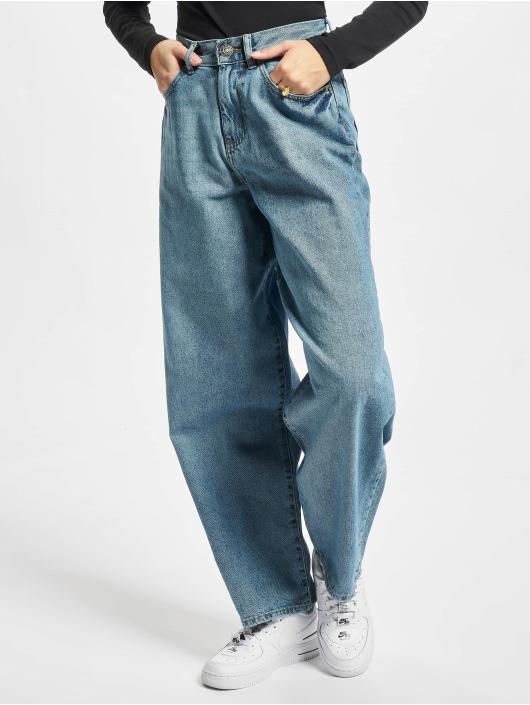 Urban Classics Loose Fit Jeans Ladies High Waist 90´s Wide Leg modrý
