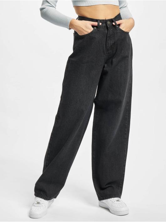 Urban Classics Loose fit jeans Ladies High Waist 90´s Wide Leg Denim zwart