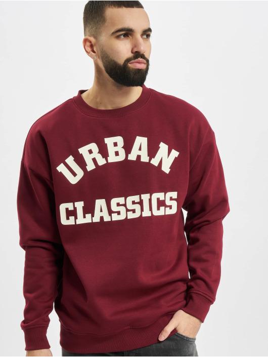 Urban Classics Maglia College Print Crew rosso