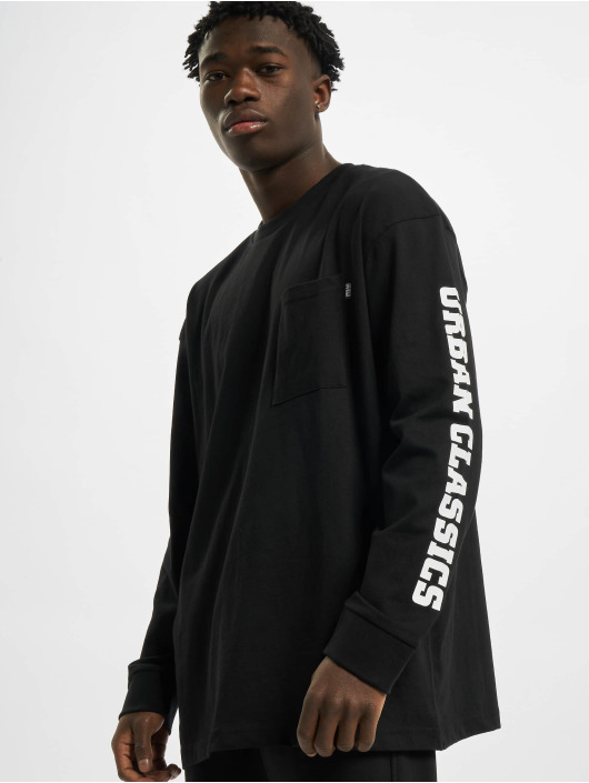 Urban Classics Maglietta a manica lunga Sleeve Logo Boxy Pocket nero