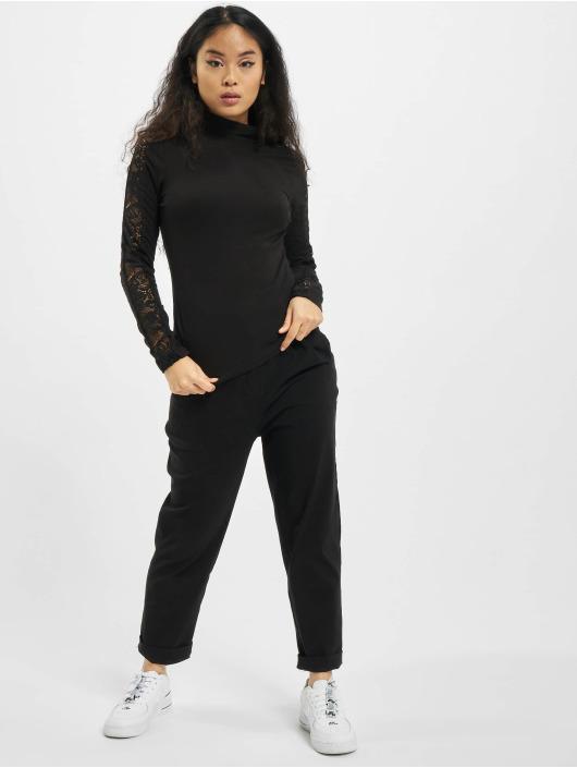 Urban Classics Maglietta a manica lunga Ladies Lace Striped LS nero
