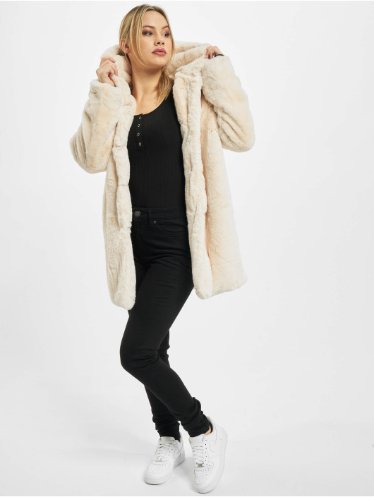 Urban Classics Manteau Ladies Hooded Teddy blanc