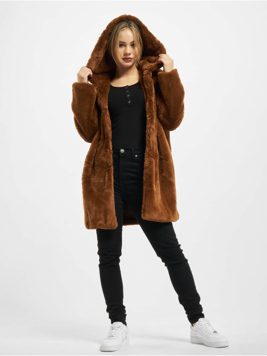 Urban Classics Manteau Ladies Hooded Teddy brun