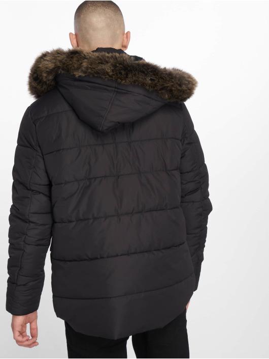 Urban Classics Manteau hiver Faux Fur noir