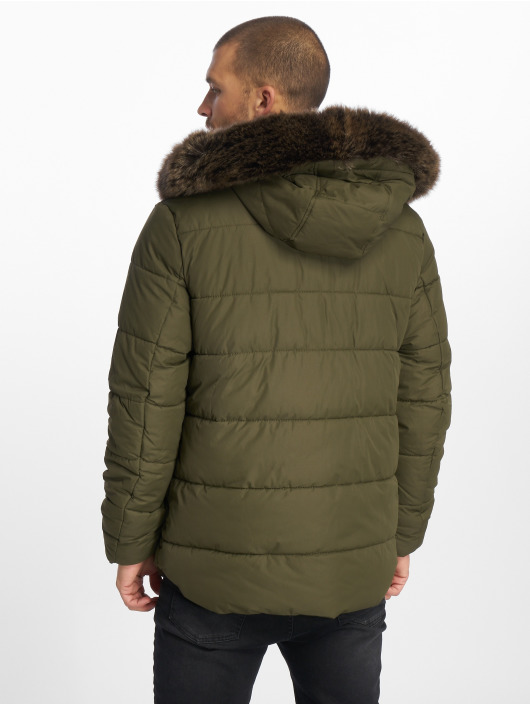 Urban Classics Manteau hiver Faux Fur olive