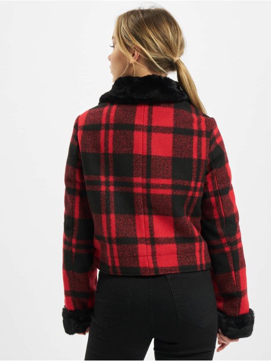 Urban Classics Manteau hiver Ladies Plaid rouge