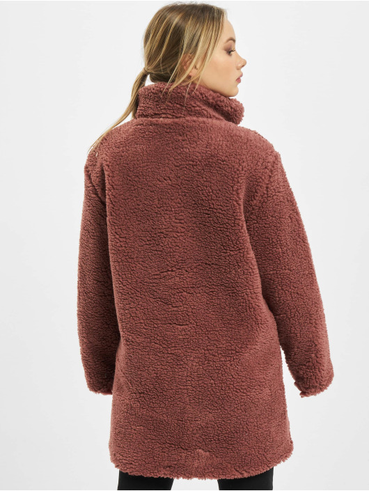 Urban Classics Manteau Ladies Oversized Sherpa rouge