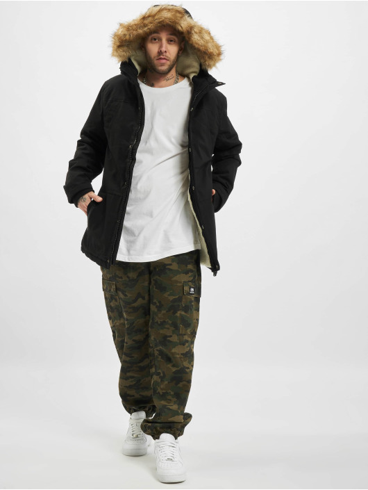 Urban Classics Mantel Heavy Cotton Imitation Fur schwarz