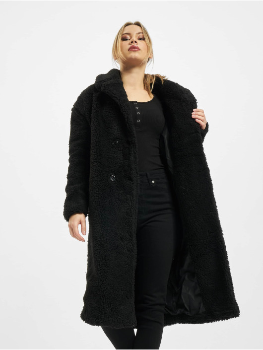 Urban Classics Mantel Ladies Oversized Teddy schwarz