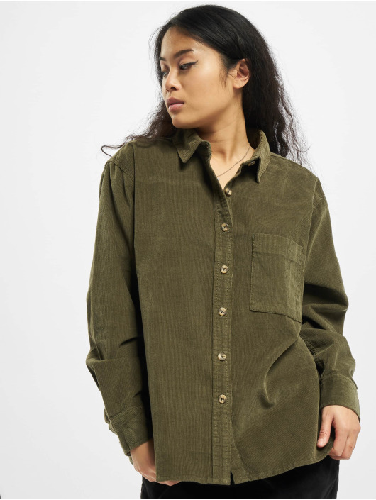 Urban Classics overhemd Ladies Corduroy Oversized olijfgroen
