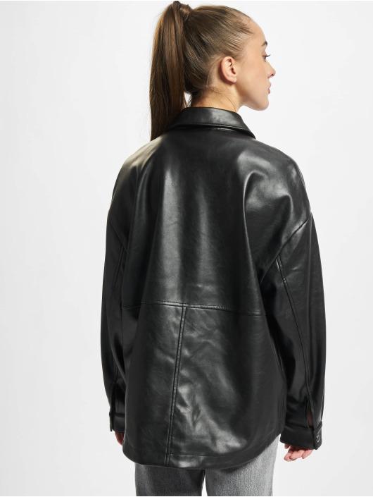 Urban Classics overhemd Ladies Faux Leather zwart