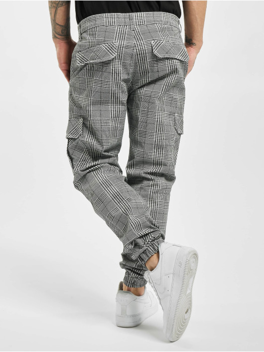 Urban Classics Pantalon cargo AOP Glencheck blanc