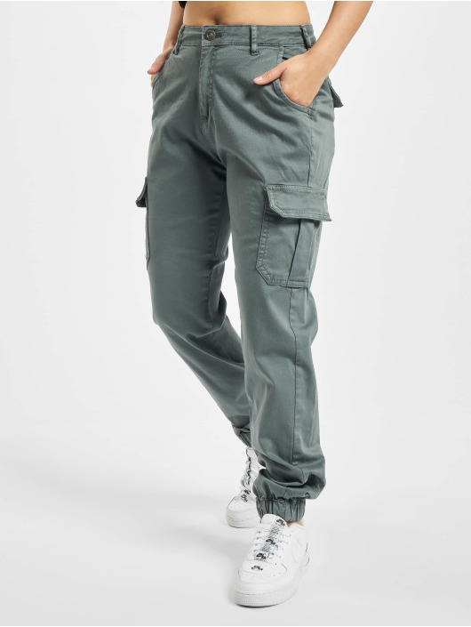 Urban Classics Pantalon cargo Ladies High Waist gris
