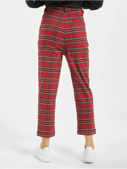 Urban Classics Pantalon chino Checker rouge