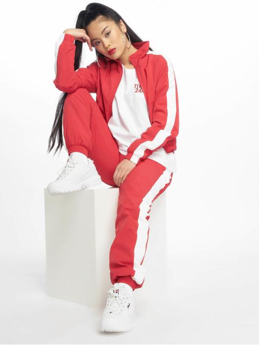 Urban Classics Pantalón deportivo Striped Crinkle rojo