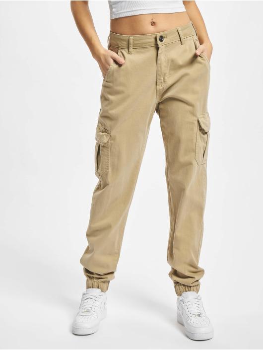 Urban Classics Pantalone Cargo Ladies High Waist marrone