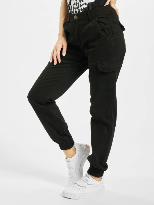 Urban Classics Pantalone Cargo Ladies High Waist Cargo nero