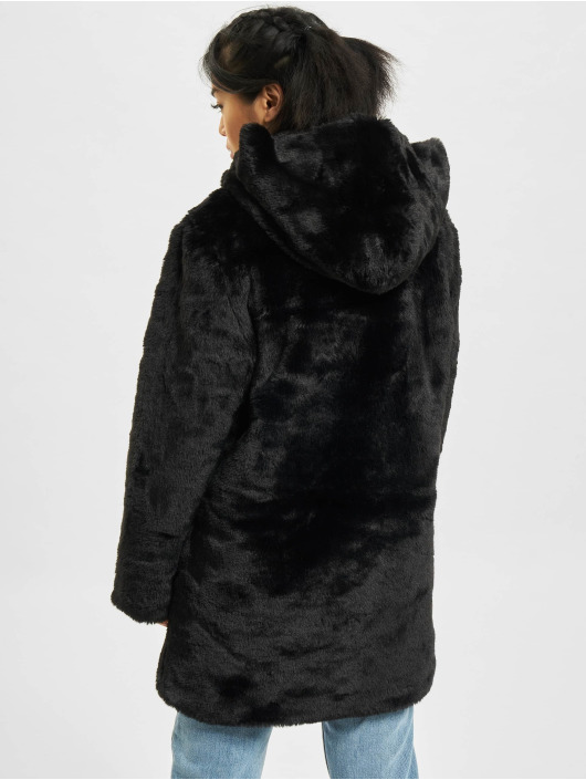 Urban Classics Hooded Teddy Coat Black
