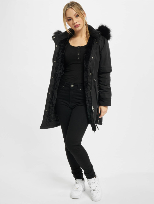 Urban Classics Parka Ladies Faux Fur zwart