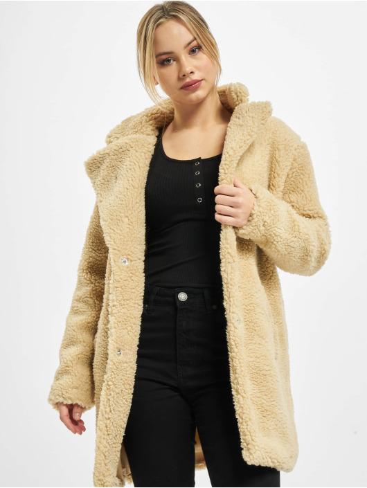 Urban Classics Płaszcze Ladies Oversized Sherpa bezowy
