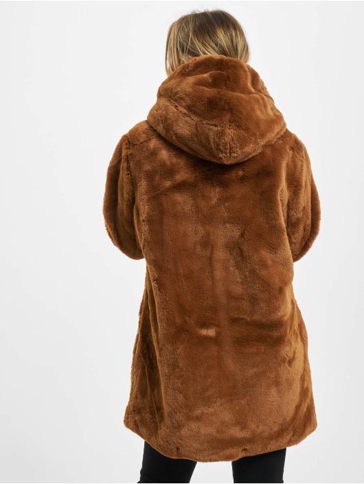 Urban Classics Płaszcze Ladies Hooded Teddy brazowy