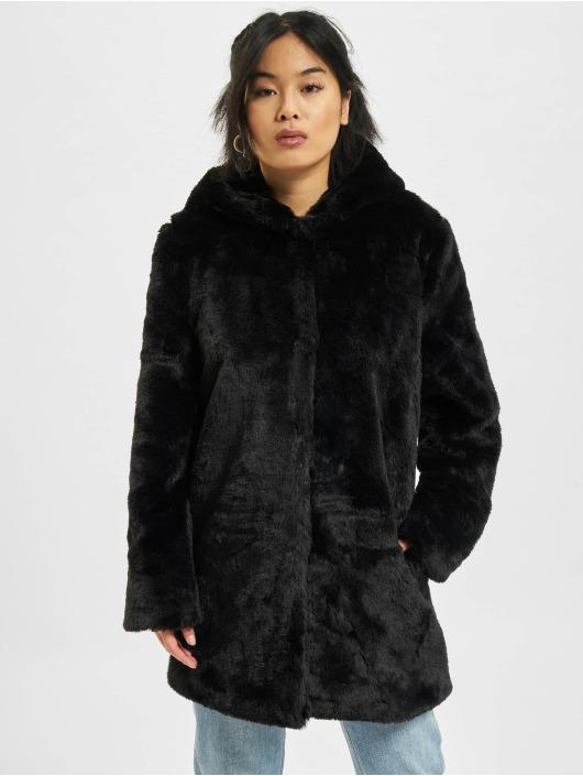 Urban Classics Płaszcze Hooded Teddy czarny