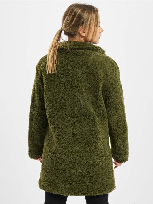 Urban Classics Płaszcze Ladies Oversized Sherpa oliwkowy