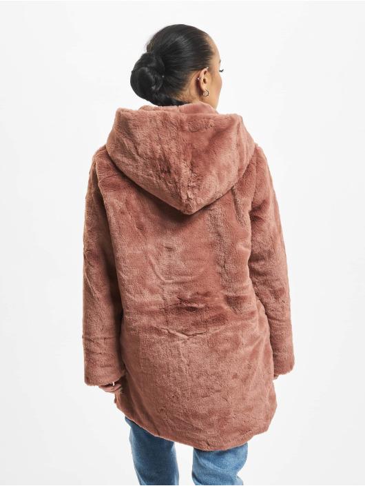 Urban Classics Płaszcze Hooded Teddy rózowy