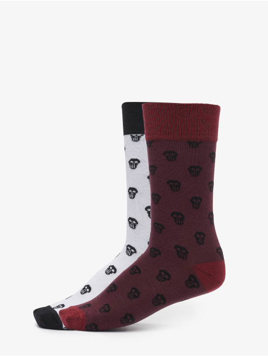 Urban Classics Ponožky Skull Allover 2-Pack červený