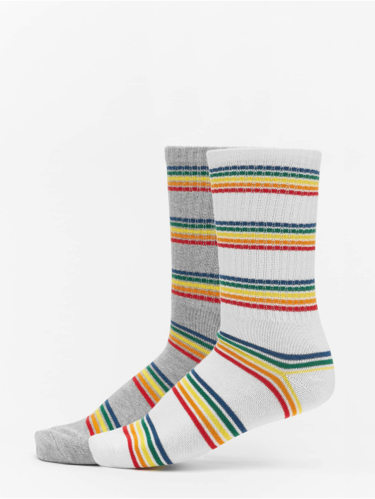 Urban Classics Ponožky Rainbow Stripes Socks 2-Pack šedá