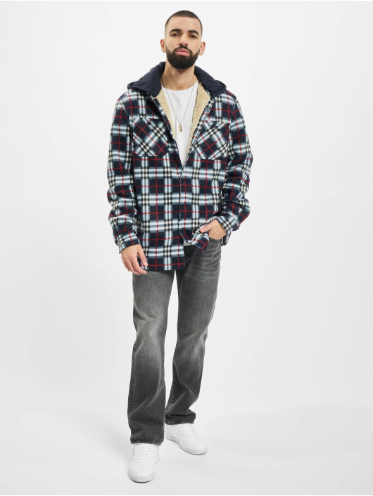 Urban Classics Prechodné vetrovky Hooded Polar Fleece Overshirt modrá