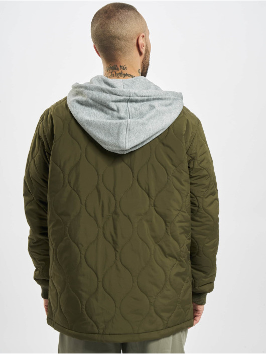Urban Classics Prechodné vetrovky Quilted Hooded olivová