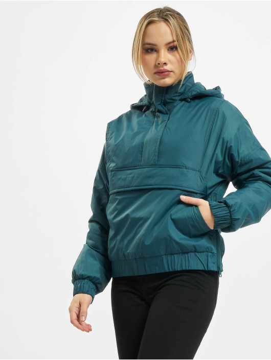 Urban Classics Prechodné vetrovky Ladies Panel Padded Pull Over tyrkysová
