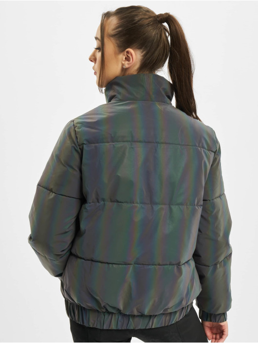 Urban Classics Puffer Jacket Ladies Iridescent Reflectiv gray