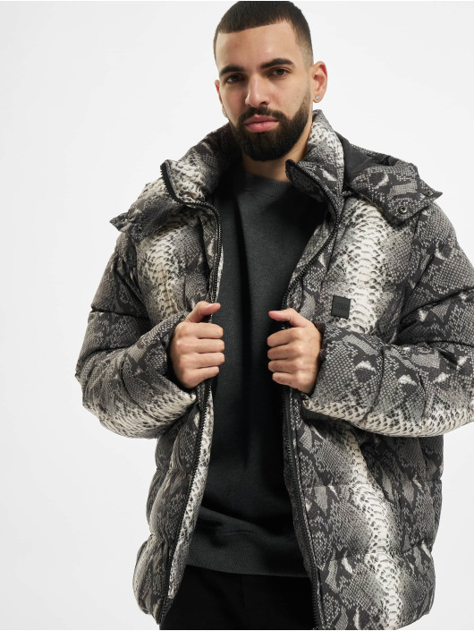 Urban Classics Puffer Jacket Hooded AOP grey