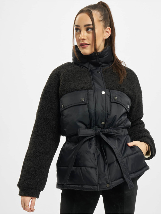 Urban Classics Puffer Jacket Ladies Sherpa Mix schwarz