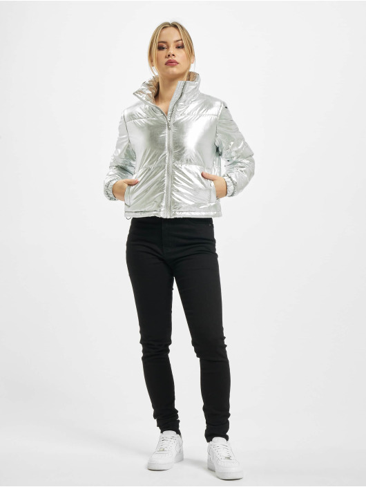 Urban Classics Puffer Jacket Ladies Metalic silver colored
