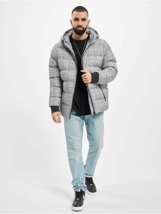 Urban Classics Puffer Jacket Hooded Check white