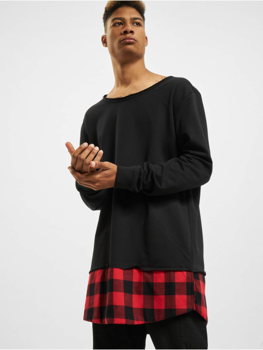 Urban Classics Pullover Long Flanell Bottom Open Edge black