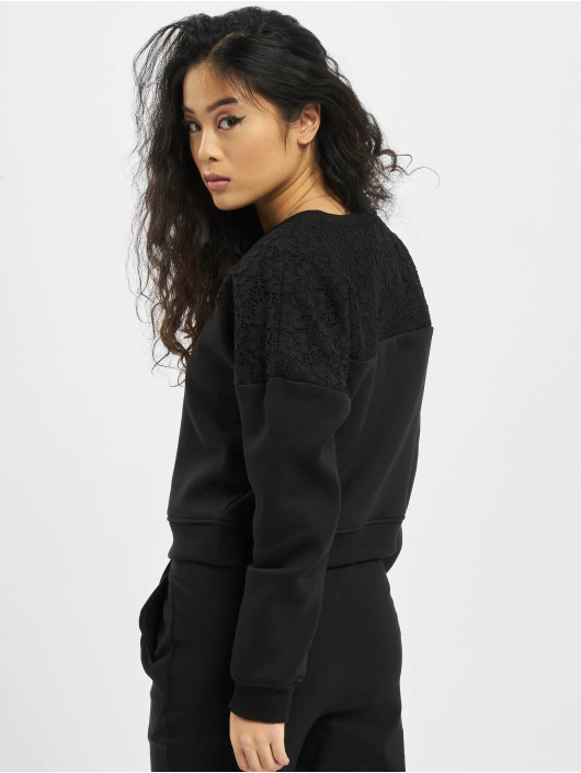 Urban Classics Pullover Short Oversized Lace Inset black
