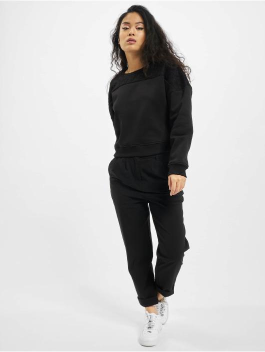 Urban Classics Pullover Short Oversized Lace Inset black