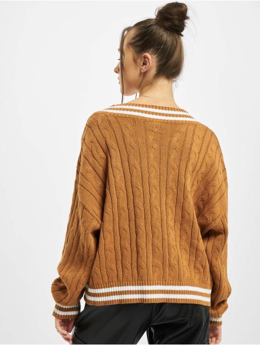 Urban Classics Pullover Ladies Short V-Neck College braun