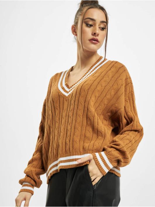 Urban Classics Pullover Ladies Short V-Neck College brown